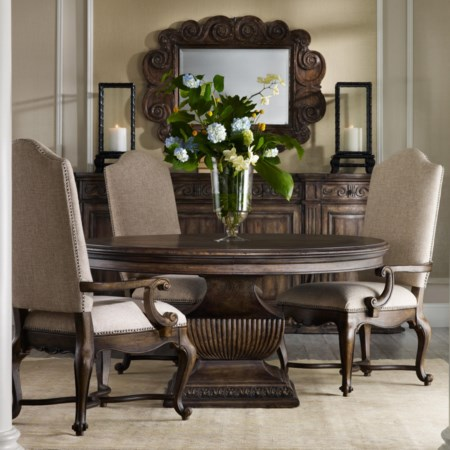"""60"""" Round Table and Upholstered Chair Set"""