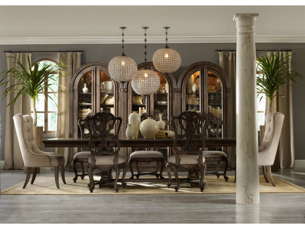 Hooker Furniture RhapsodyRectangular Dining Group w/ 2 Tufted Chair
