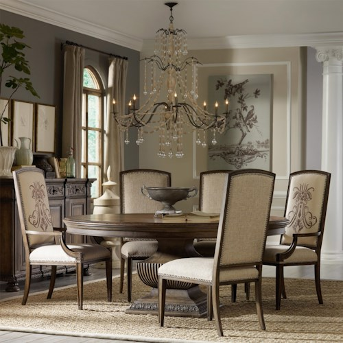 Hooker Furniture Rhapsody Round Pedestal Dining Table and Upholstered Arm and Side Chair Group