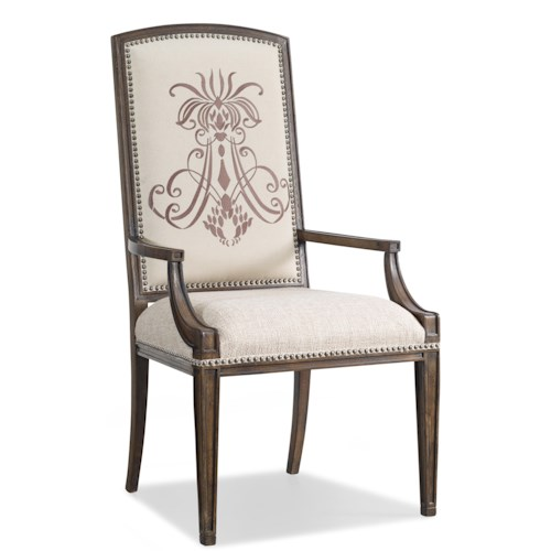 Hooker Furniture Rhapsody Insignia Upholstered Dining Arm Chair with Nailhead Trim