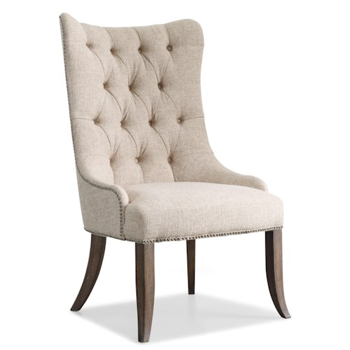 Hooker Furniture Rhapsody Transitional Button Tufted Dining Chair with Nailhead Trim