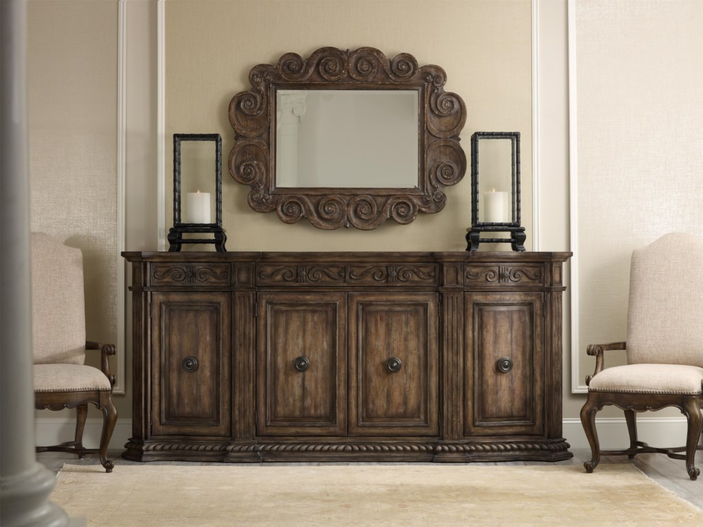 Shown with Carved Mirror and Upholstered Dining Chairs