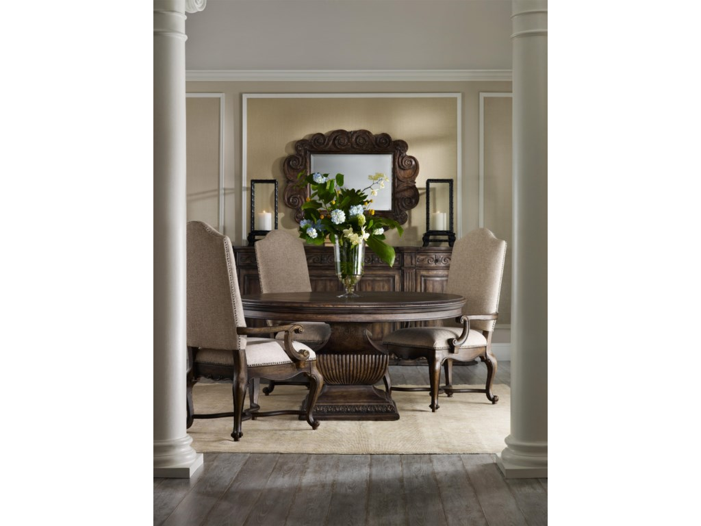 Shown with Carved Mirror, Round Dining Table and Upholstered Dining Chairs