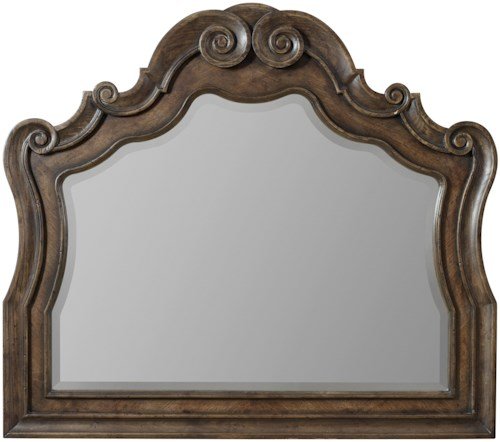 Hooker Furniture Rhapsody Serpentine Dresser Mirror with Beveled Glass and Grand Scroll Detailing