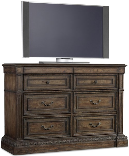 Hooker Furniture Rhapsody Eight Drawer Media Chest with Felt Lined Jewelry Storage and Cedar Lined Bottom Drawers