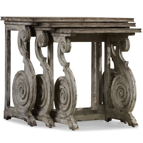 Hooker Furniture Rhapsody Set of Three Rustic Scroll Nesting Tables