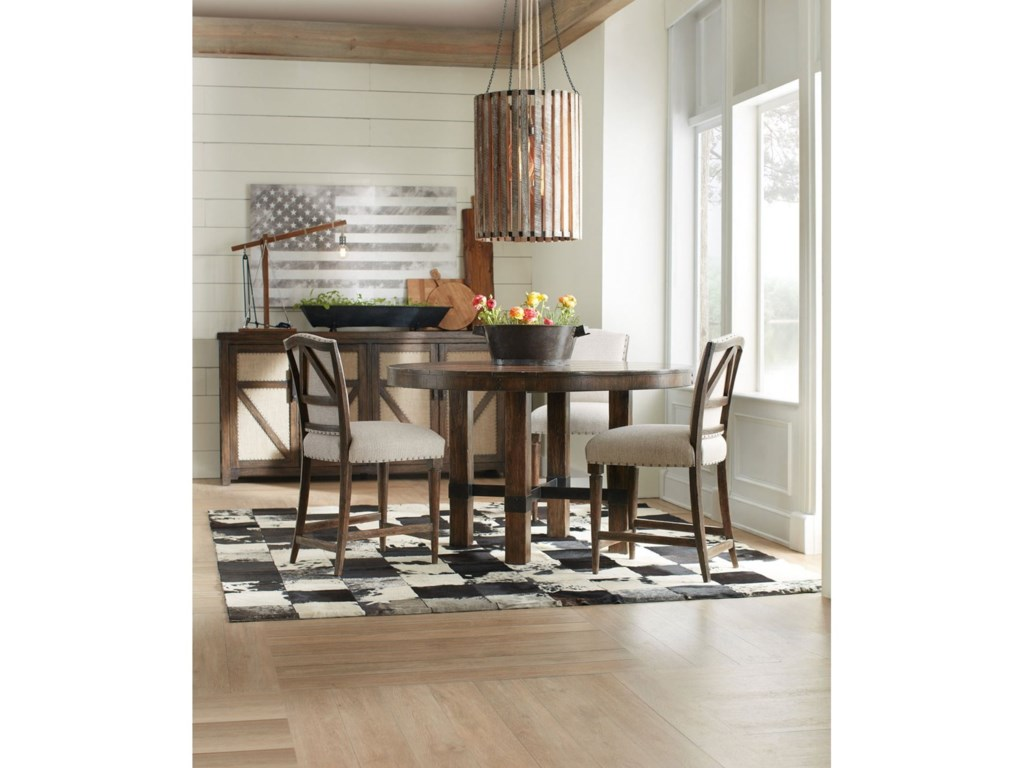 Hooker Furniture American Life - Roslyn CountyRound Dining Table and Counter Stool Set