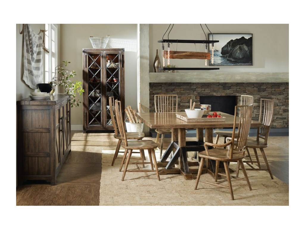 Hooker Furniture American Life - Roslyn CountyTrestle Dining Table and Chair Set