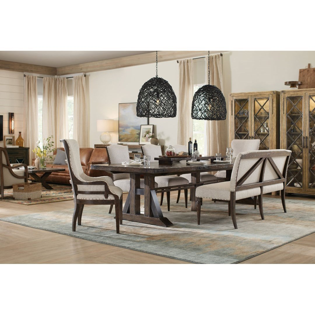 Hooker Furniture American Life   Roslyn County Trestle Dining Table With  Leaves And Deconstructed Chair Set