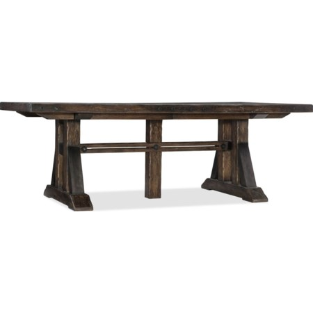 Trestle Dining Table With Two Leaves