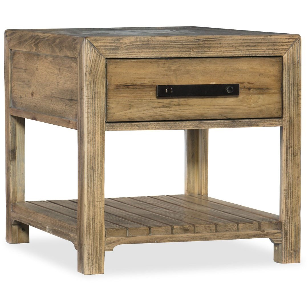 Hooker Furniture American Life   Roslyn County End Table With Shelf And  Storage Drawer   Darvin Furniture   End Tables