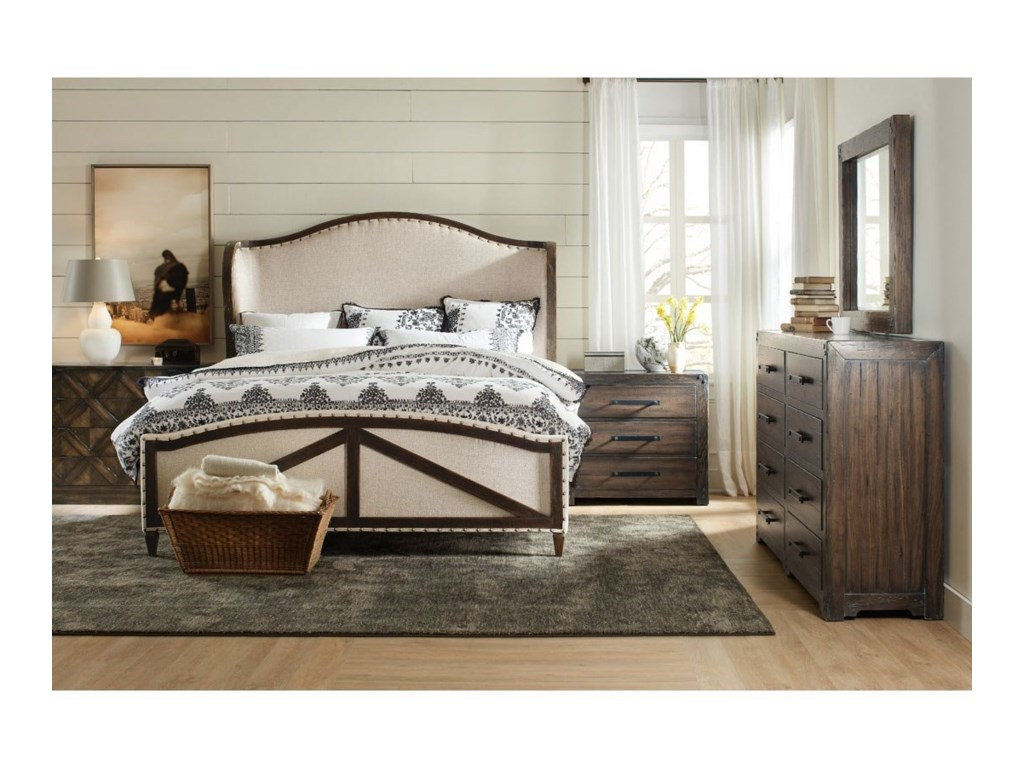Hooker Furniture American Life - Roslyn CountyQueen Deconstructed Upholstered Panel Bed