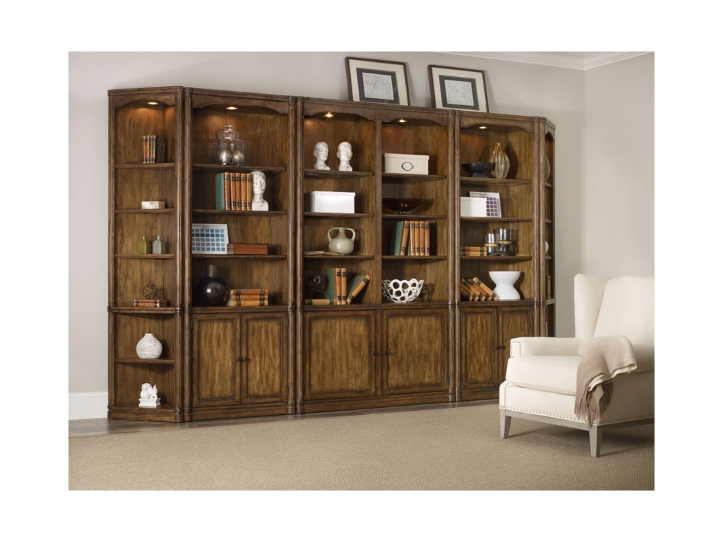 Hooker furniture saint armand bookcase wall unit with adjustable shelves fashion furniture wall unit