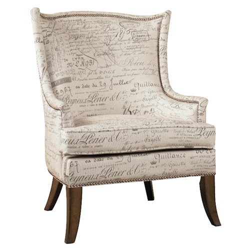 Hooker Furniture Sanctuary Paris Accent Chair with Exposed Wood Legs