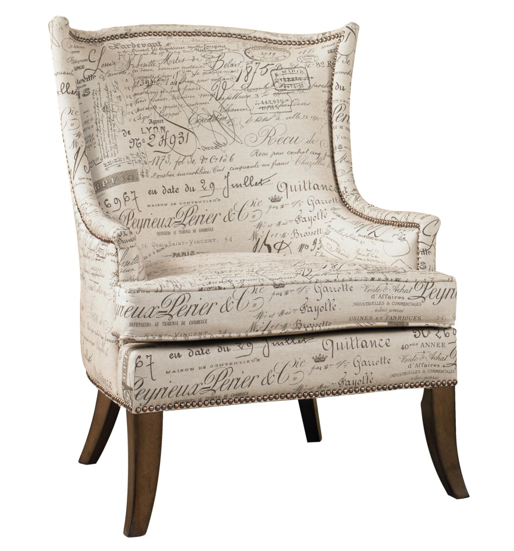 Hooker furniture sanctuary 200 36 062 paris accent chair with exposed wood legs dunk bright furniture wing chairs