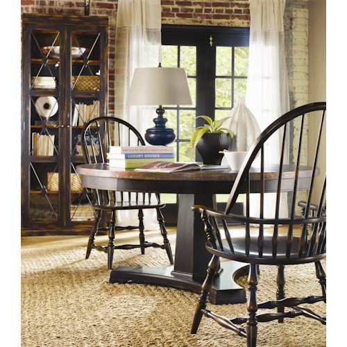 Hooker Furniture Sanctuary 3 Piece Pedestal Table & Windsor Chair Set