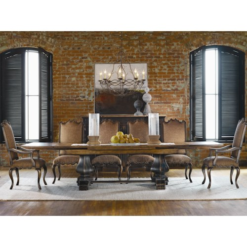 Hooker Furniture Sanctuary 7 Piece Refectory Table & Canterbury Chair Set