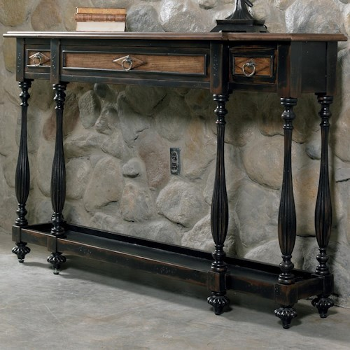 Hooker Furniture Sanctuary Three-Drawer Thin Console with Dual-Tone Finish
