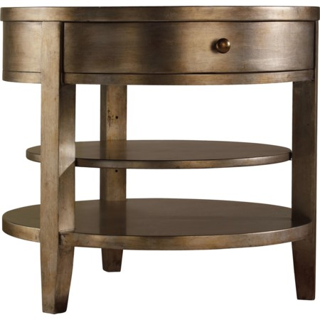 One-Drawer Round Lamp Table