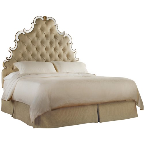 Hooker Furniture Sanctuary King-California King-Size Upholstered Headboard with Button-Tufting & Mirror Accents