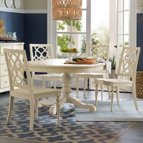 Hooker Furniture Sandcastle 5 Piece Dining Set with Fretwork Chairs