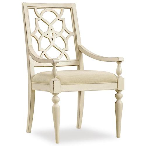 Hooker Furniture Sandcastle Fretback Arm Chair - Upholstered Seat