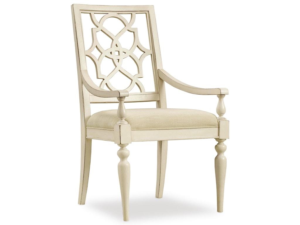 Hooker Furniture SandcastleFretback Arm Chair - Upholstered Seat
