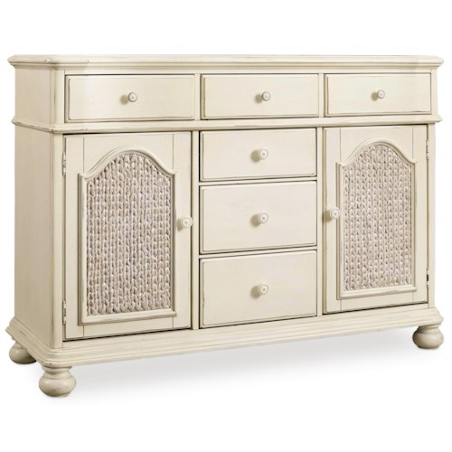 Hooker Furniture Sandcastle Buffet with Woven Seagrass Door Fronts