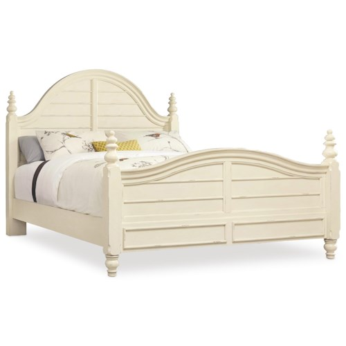 Hooker Furniture Sandcastle King Wood Panel Bed with Turned Finials