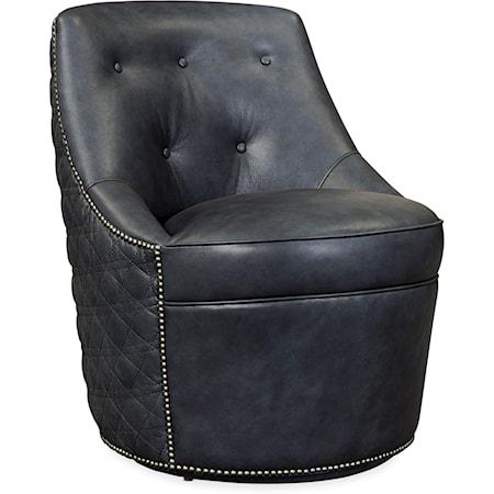 Segura Leather Swivel Accent Chair