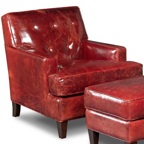 Hooker Furniture Club Chairs Traditional Covington Bogue Leather Club Chair with Button Tufting