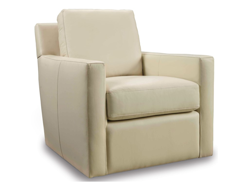 Club Chairs Contemporary Cream Swivel Chair With Track Arms By Hamilton Home