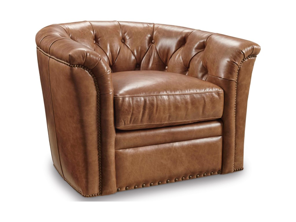 Club Chairs Traditional Swivel Chair With Tufted Back By Furniture