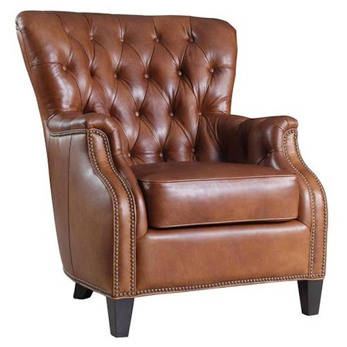 Hooker Furniture Club Chairs Transitional Wing Back Club Chair
