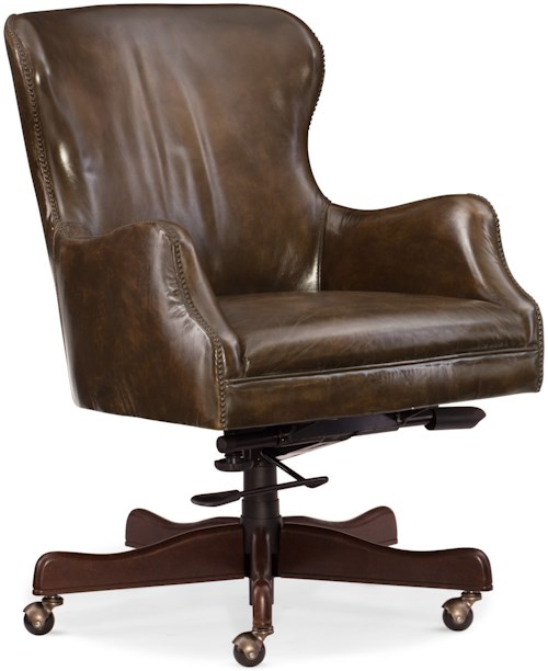 Hooker Furniture Executive Seating Caleb Leather Home Office Chair with Nailhead Trim