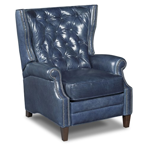 Hooker Furniture Seven Seas Seating - Reclining Chairs Reclining Wing Chair with Button Tufting and Nailheads