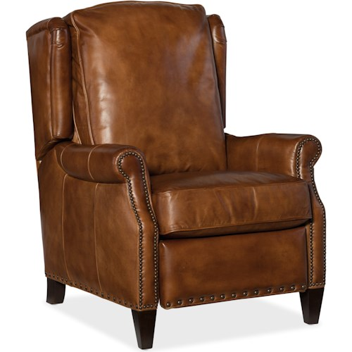 Furniture Reclining Chairs Silas Traditional Leather Recliner With Nailhead Trim