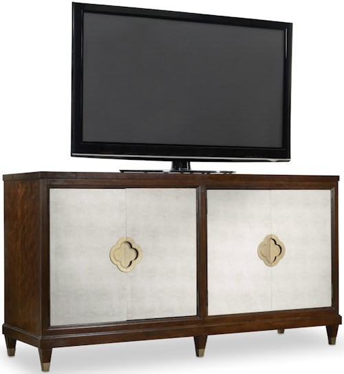 Hooker Furniture Skyline Entertainment Console with Faux Shagreen Doors