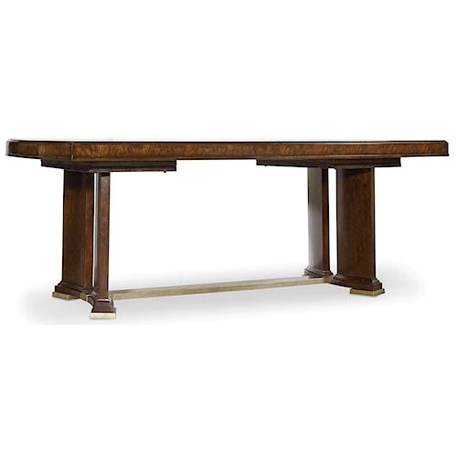 Hooker Furniture Skyline Trestle Dining Table with Metal Stretcher