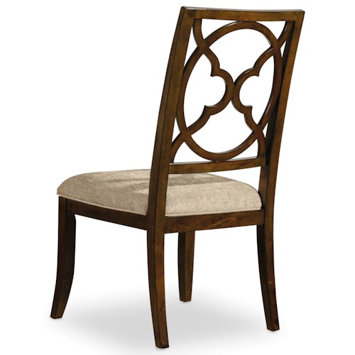 Hooker Furniture Skyline Fretback Side Chair with Upholstered Seat