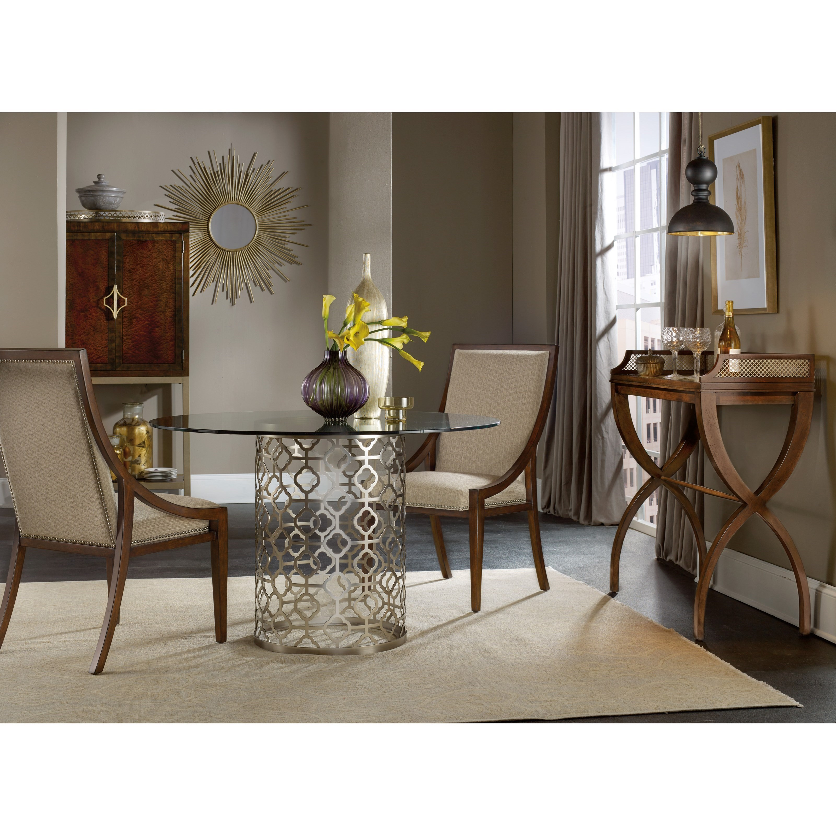 Hooker Furniture Skyline Round Glass Top Dining Table With Plated Metal Base