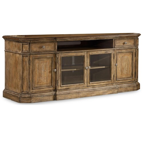 Hooker Furniture Solana Entertainment Console with 4 Doors and Channel Speaker Area