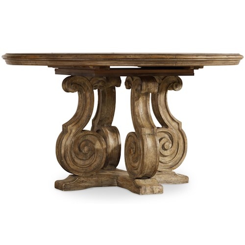 Hooker Furniture Solana Round Single Pedestal Dining Table with Scroll Serpentine Shaping