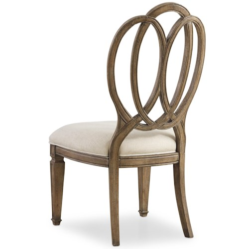 Hooker Furniture Solana Side Chair with Overlapping Open Oval Wood Back Design