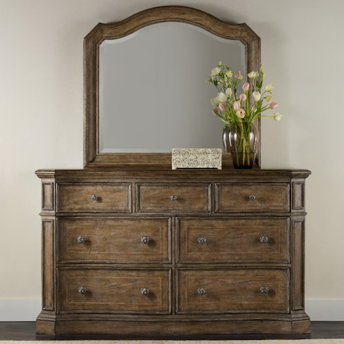 Hooker Furniture Solana 7 Drawer Dresser and Mirror Set with Serpentine Shaping
