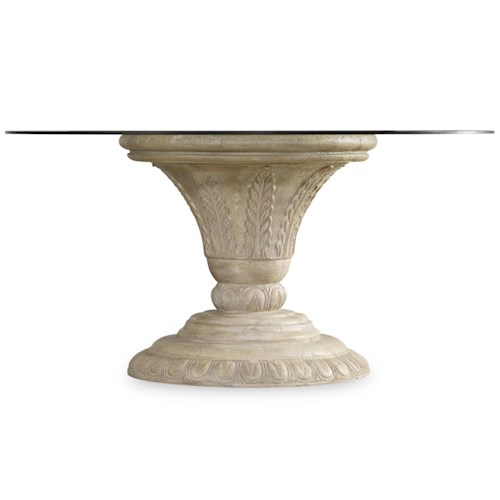 Hooker Furniture Solana Round Single Pedestal Dining Table with Glass Top and Fauna Base