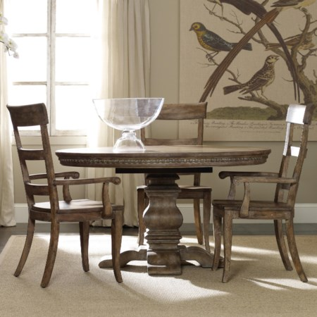 Pedestal Table and Ladderback Chair Set