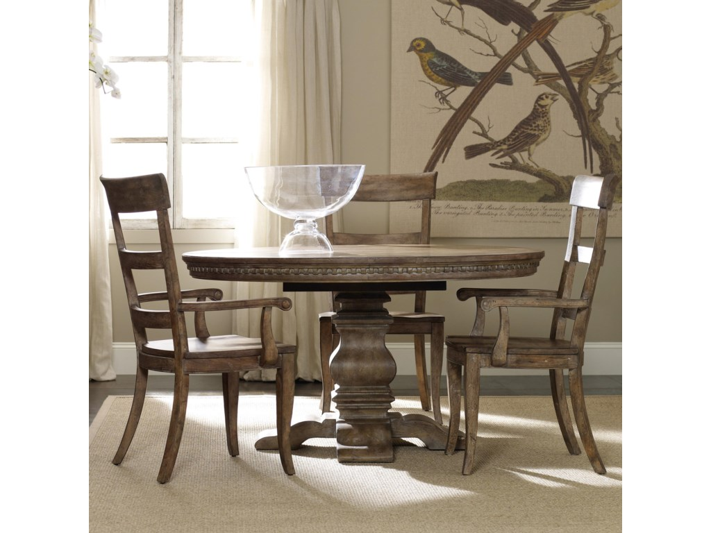 Hooker Furniture SorellaPedestal Table and Ladderback Chair Set