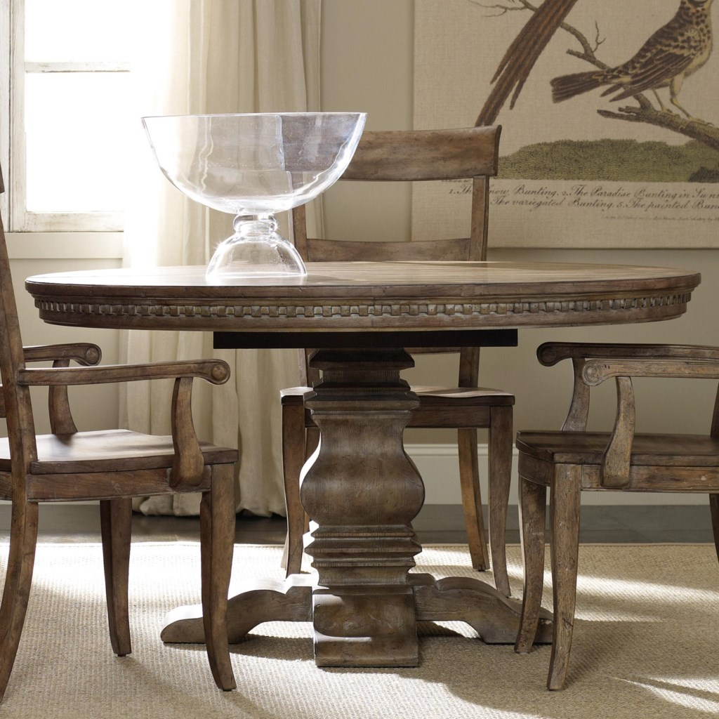Hooker Furniture Sorella Round Dining Table With Pedestal Base And