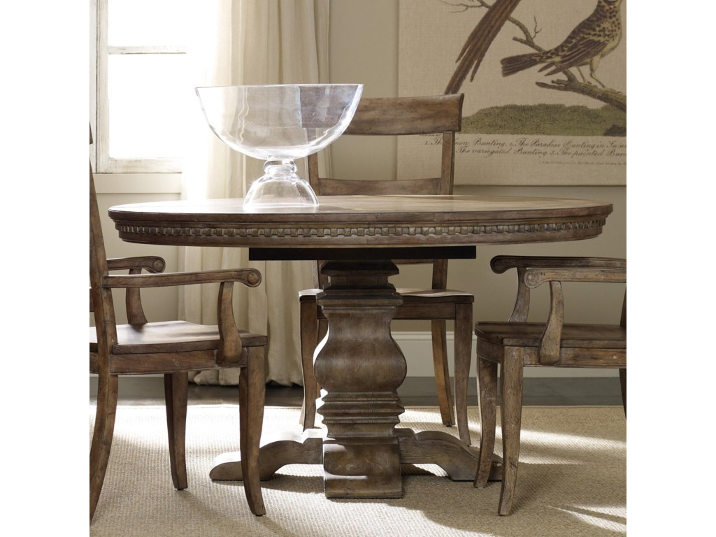 Hooker Furniture Sorella Round Dining Table With Pedestal Base And - Circle dining room table with leaf